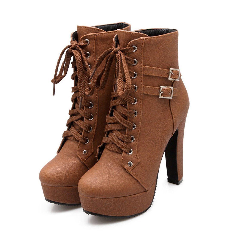 Platform Ankle Boots Women Lace Up Square Heels Women Plush Booties Autumn Winter Shoes