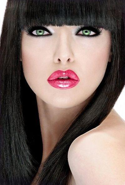 Eyes hair green with black beautiful girl