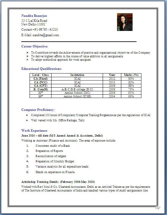 Resume/CV Sample Format - Chartered Accountant (CA) MBA Skool