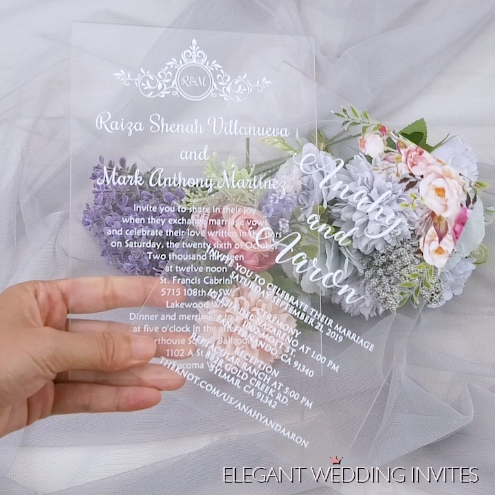 boho blush floral Acrylic wedding invitation thickness 2mm with UV printing EWIA002 as low as $4.16