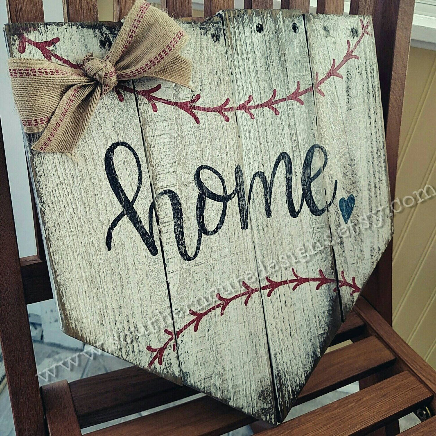 rustic wood baseball sign, There\'s no place like home, rustic ...