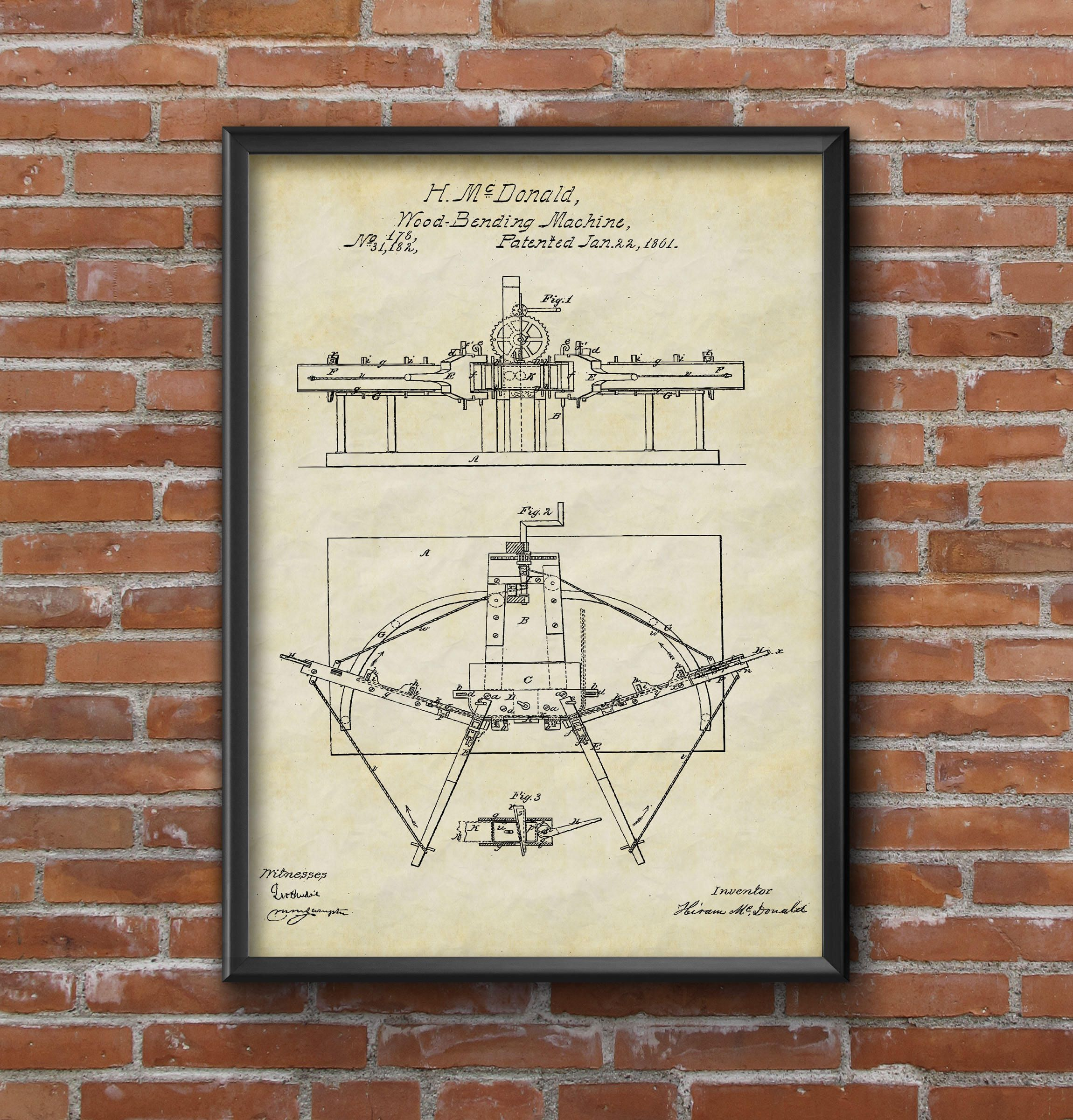 Wood bending machine patent patent prints patent poster wood bending machine patent patent prints patent poster woodworking patent patent poster wall art print home decor wall art blueprint art by malvernweather Gallery