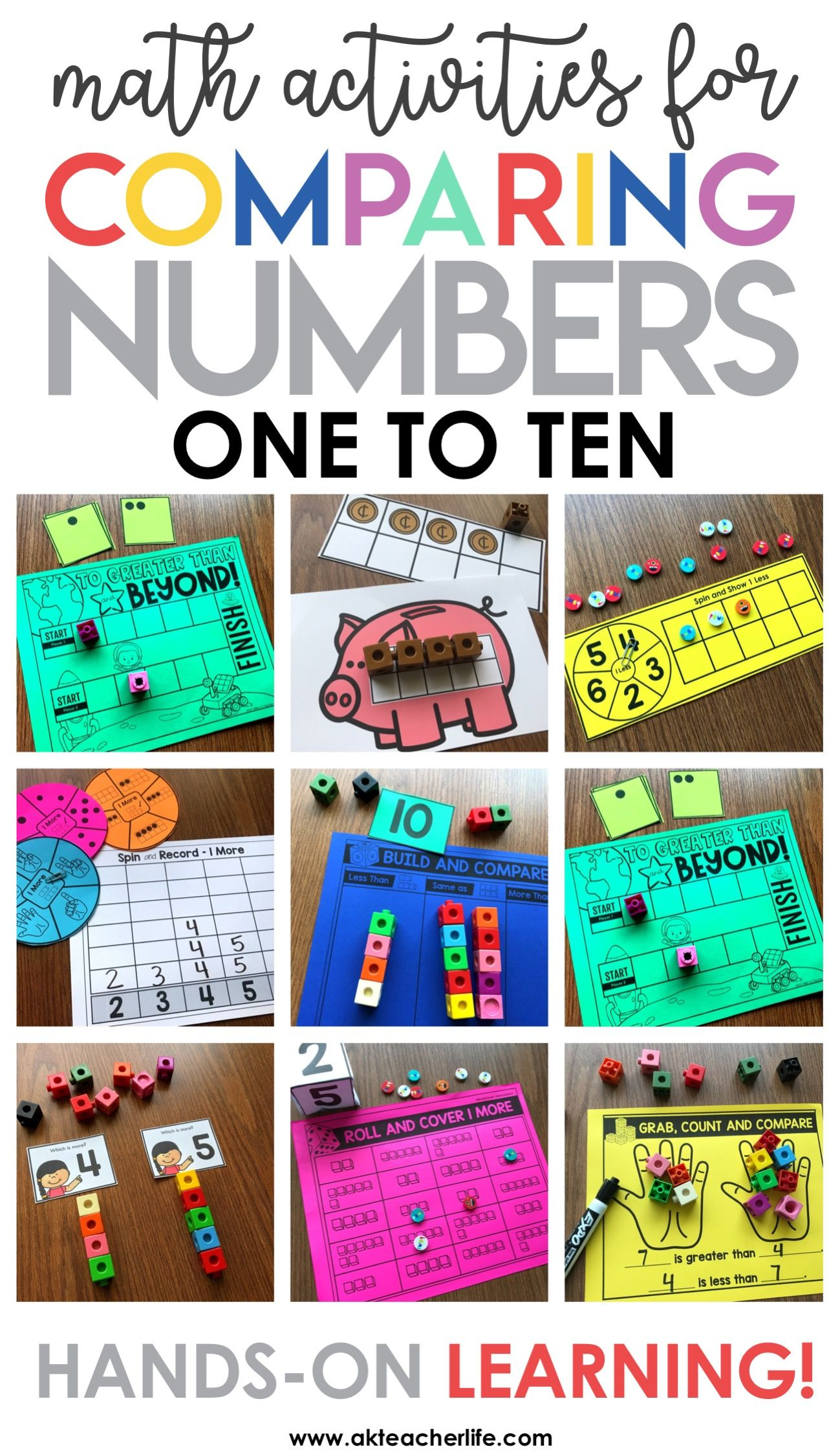 Comparing Numbers 1 To 10 Kindergarten Math Centers