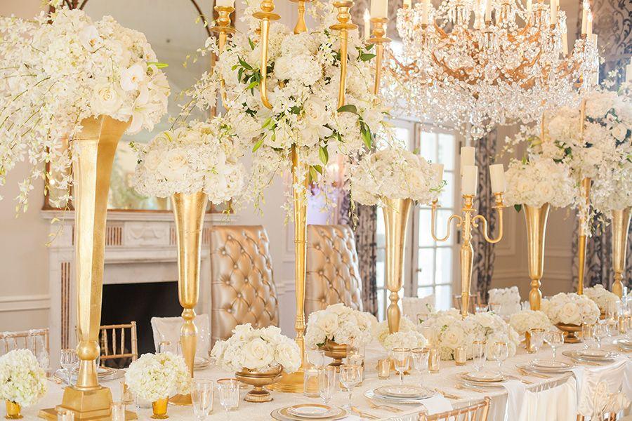 Glamorous Ivory And Gold Wedding Details