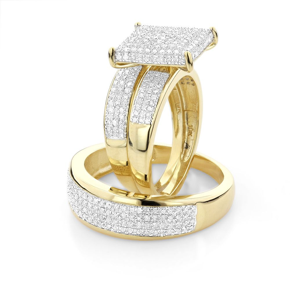 Affordable Trio Ring Sets Diamond Wedding Set 1 25ct 10k Gold