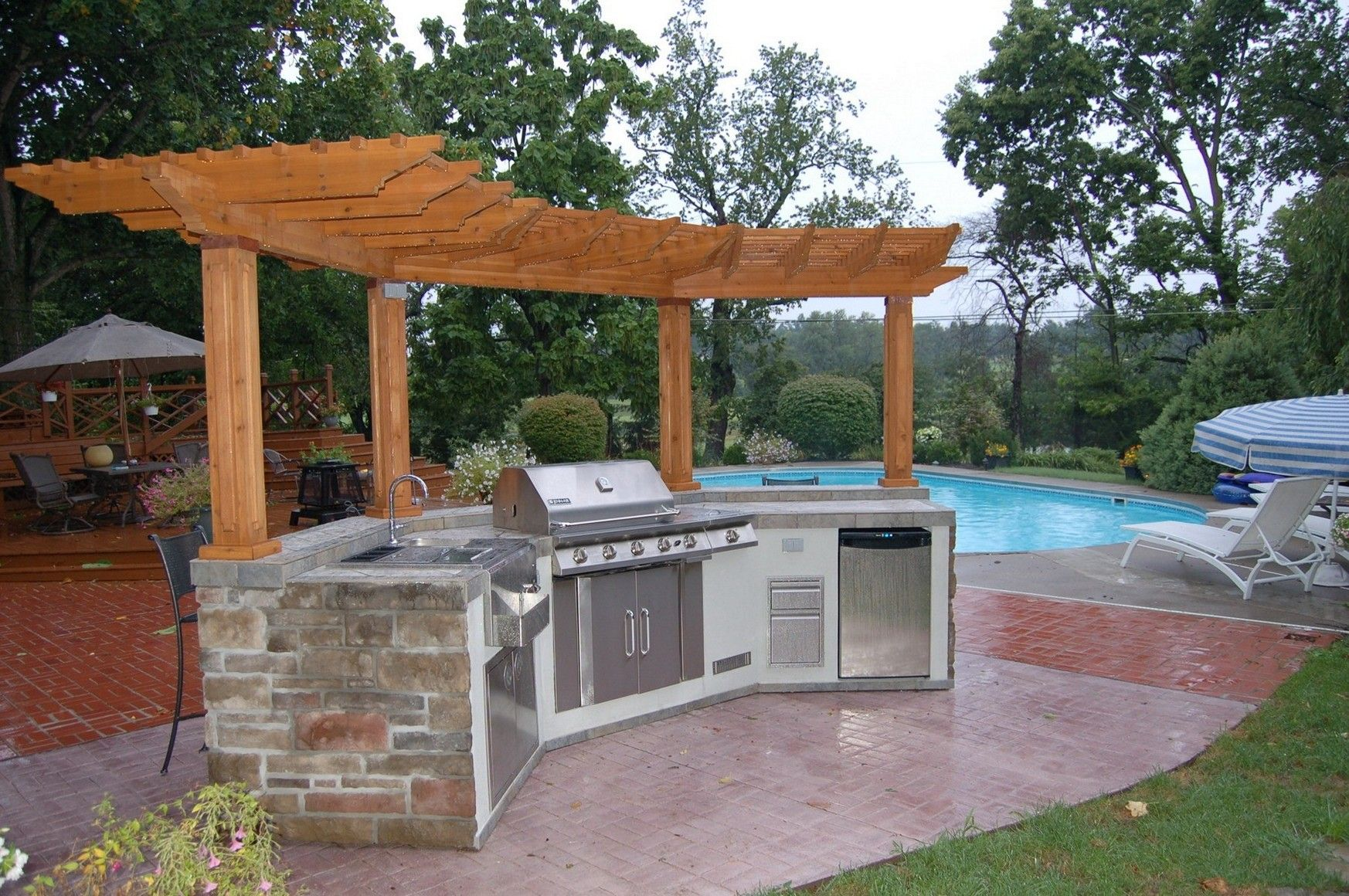 Backyard Designs With Pool And Outdoor Kitchen Ideas