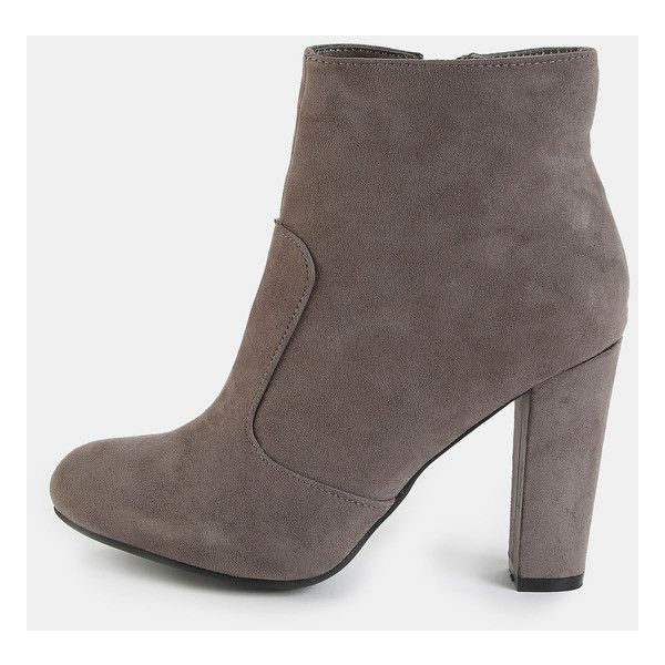 Faux Suede Chunky Heel Booties GREY ($36) ❤ liked on Polyvore featuring shoes, boots, ankle booties, gray booties, high heel ankle booties, gray ankle booties, side zip boots and faux suede booties