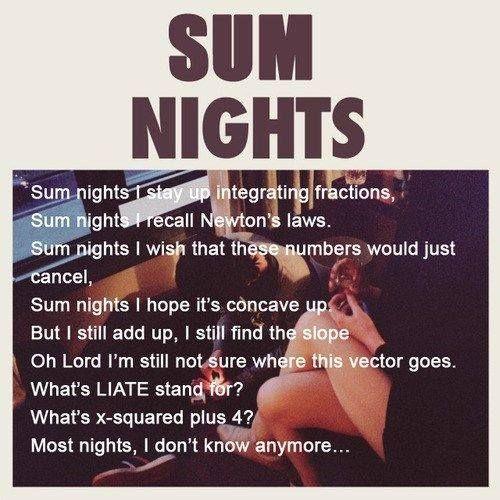 Sum Nights Nerd Jokes Math Jokes Math Humor