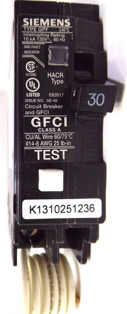 GFCI 30 Amp 1 Pole 120V SIEMENS ENERGY Circuit Breakers QF130 ...