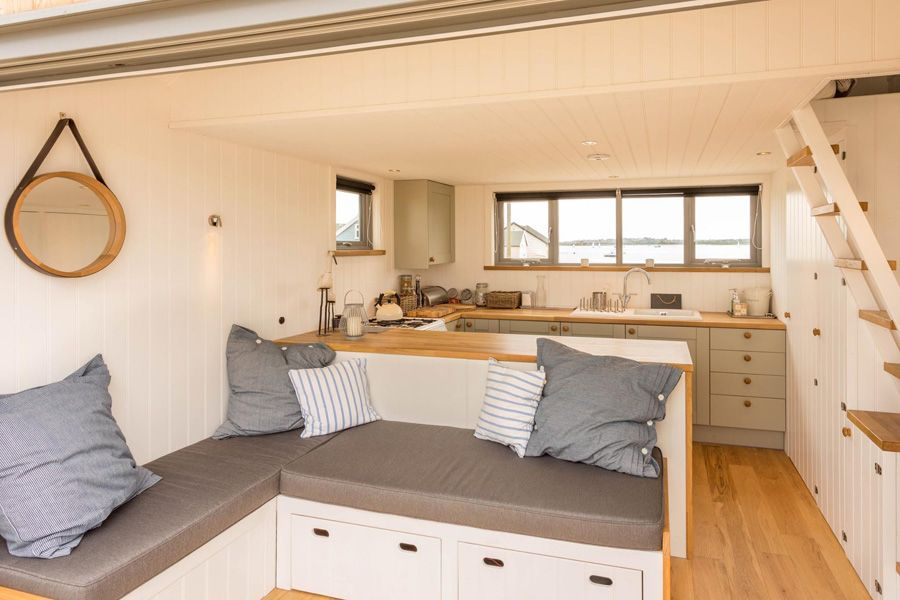 mudeford beach hut interior small space living