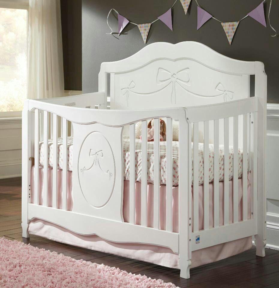 White Storkcraft Princess 4-in-1 Convertible Crib