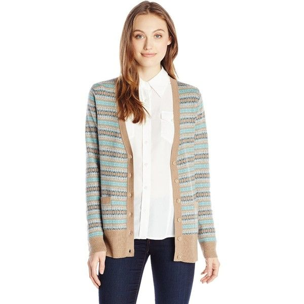 Pendleton Women's Quimby Cardigan Sweater ($249) ❤ liked on Polyvore featuring tops, cardigans, merino wool cardigan, pendleton, print top, white cardigan and cardigan top