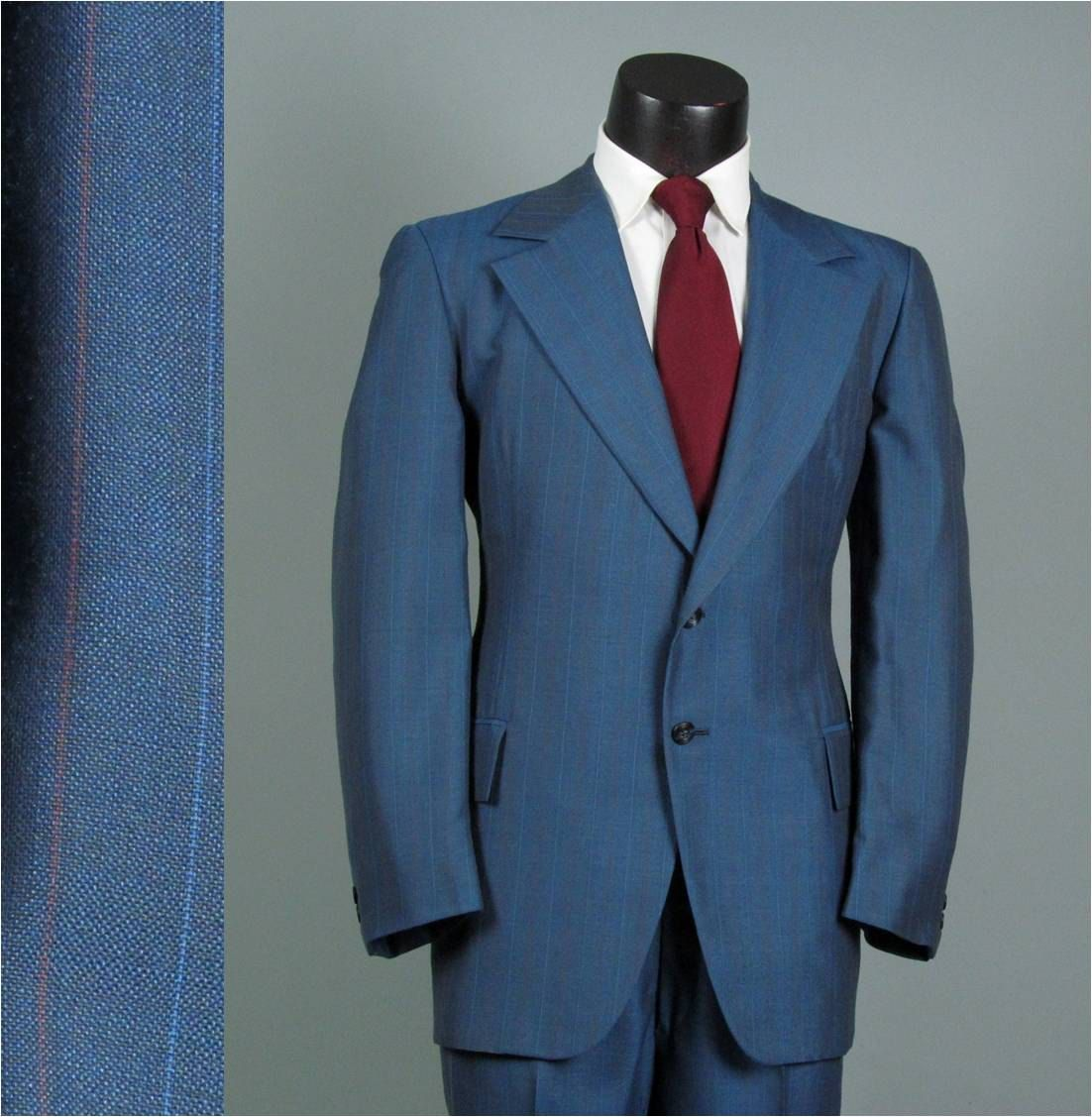 Vintage Mens Suit 1970s Bright French Blue Pinstripe Lightweight Two ...