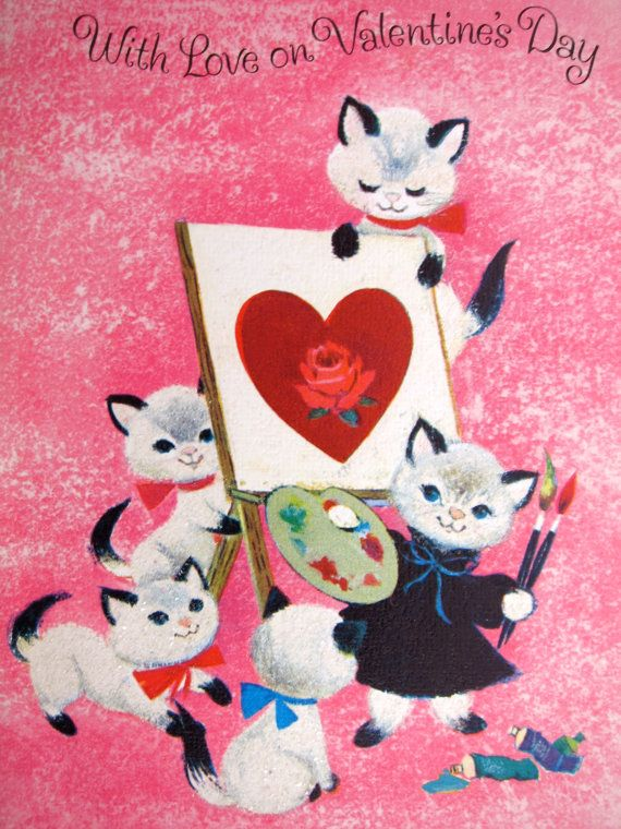 Vintage Valentineu0027s Card Cats   Sparkle Siamese Kittens Kitties Cat    Painter Artists   Valentine Hearts