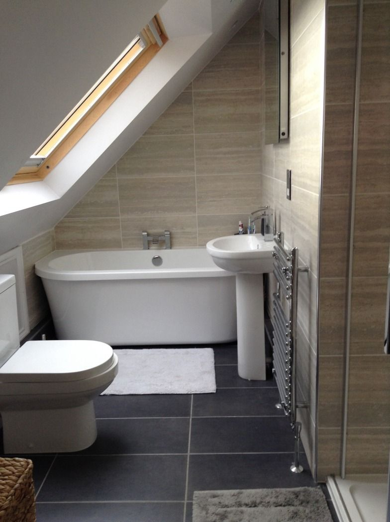 Julie From Basingstoke Shows Us How To Elegantly Transform A Loft With Sloping Roof Into A Bathroom En Suite Vpshareyourstyle Small Attic Bathroom Loft Bathroom Loft Conversion Bedroom