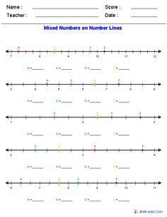 Number Line Worksheets Dynamic Number Line Worksheets Number Line Mixed Numbers Open Number Line
