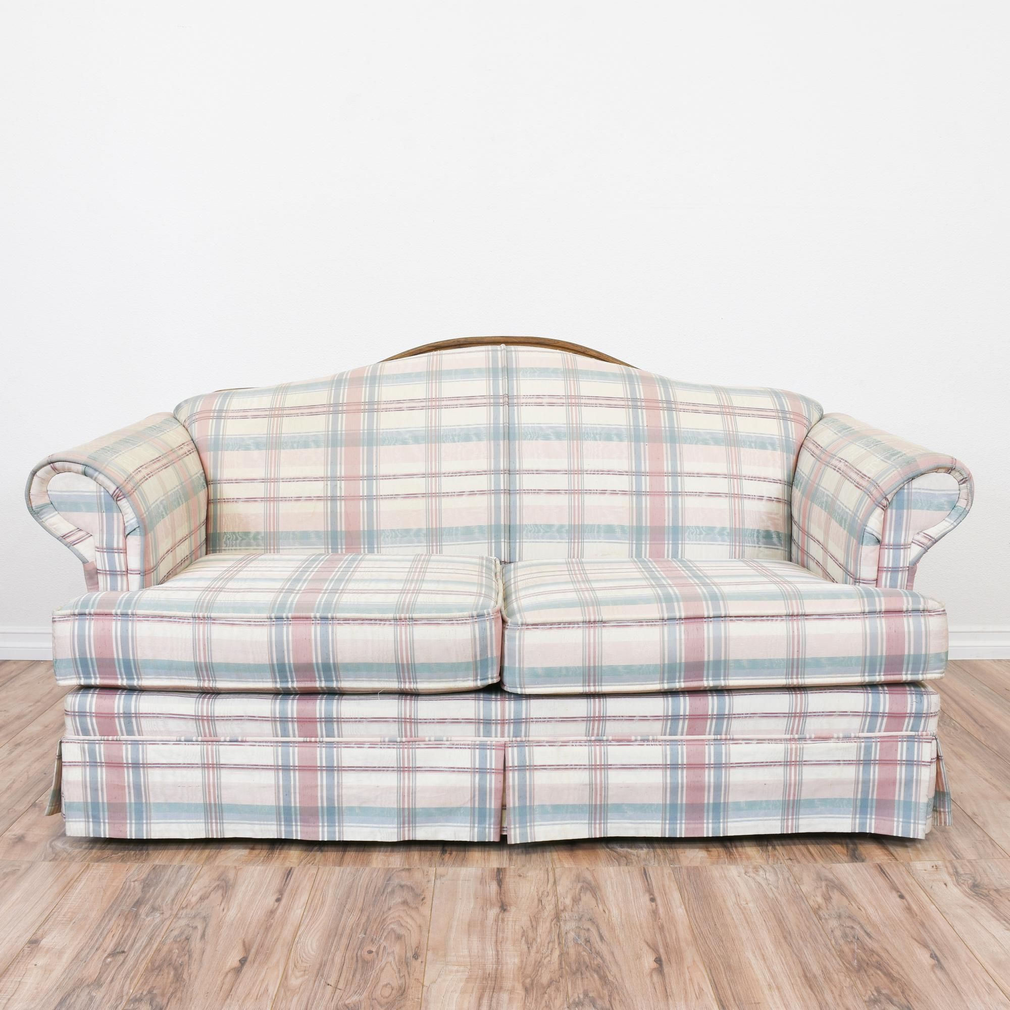 This Camelback Loveseat Is Upholstered In A Durable Off White Plaid Fabric  With Light Blue And