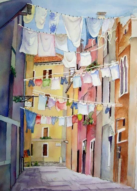 Art Friday Washing Day Watercolor Art Watercolor Artist