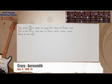 Crazy - Aerosmith Guitar Backing Track with chords and lyrics   food ...