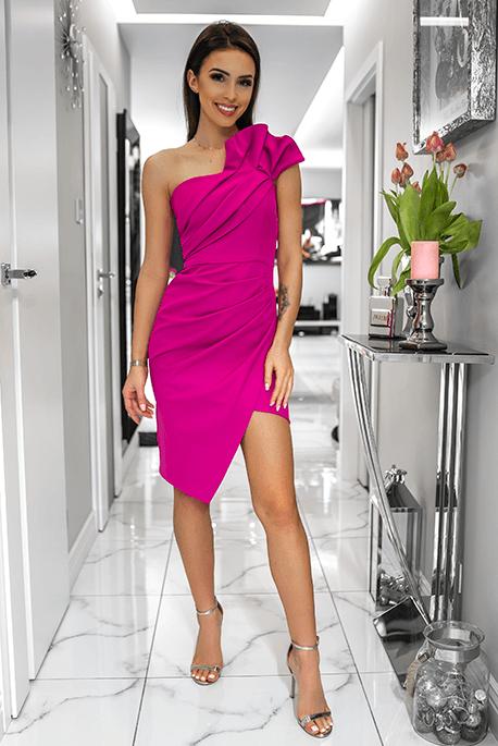 Zoe Sukienka Fuksja Sukienka Asymetryczna Fuschia Dress Elegant Dresses Short Dresses