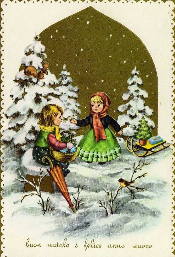 """Buon Natale e Felice Anno Nuovo"" Merry Christmas and Happy New Year. 1964's vintage italian christmas card."
