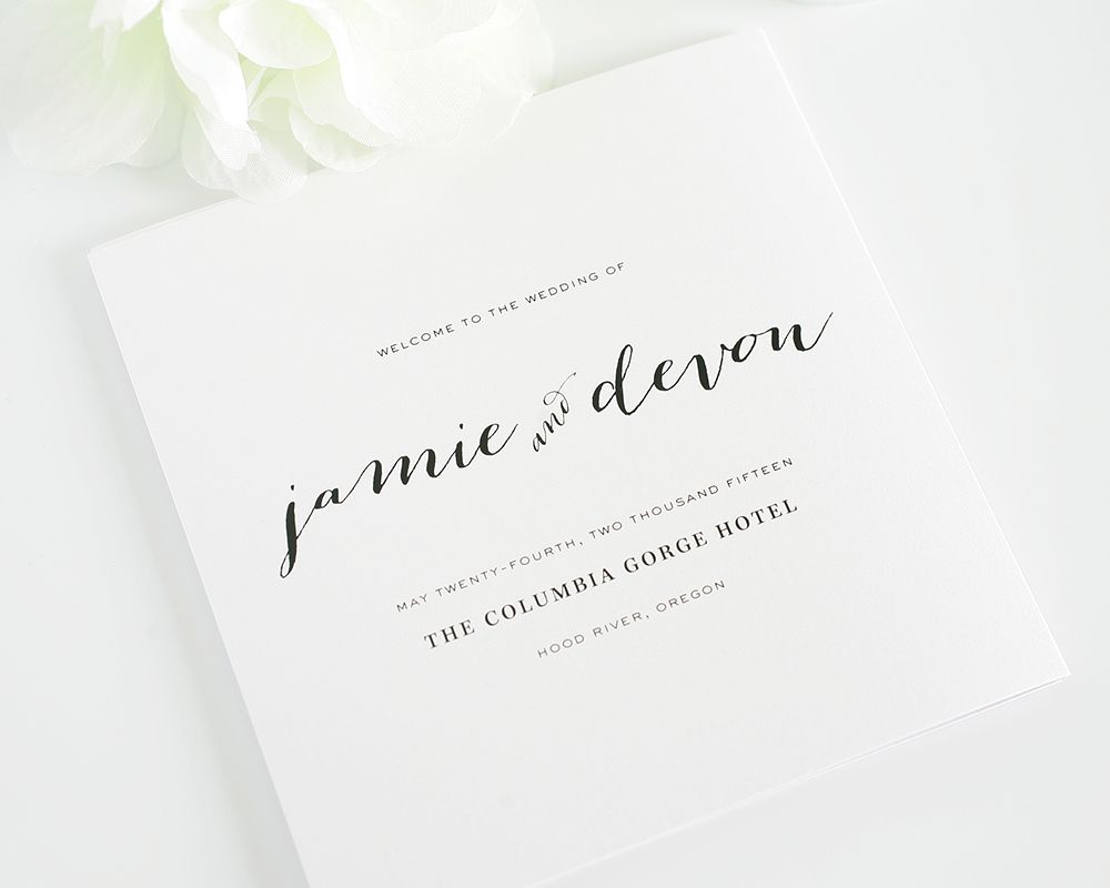 Flowing Script Wedding Programs | Wedding programs, Modern wedding ...