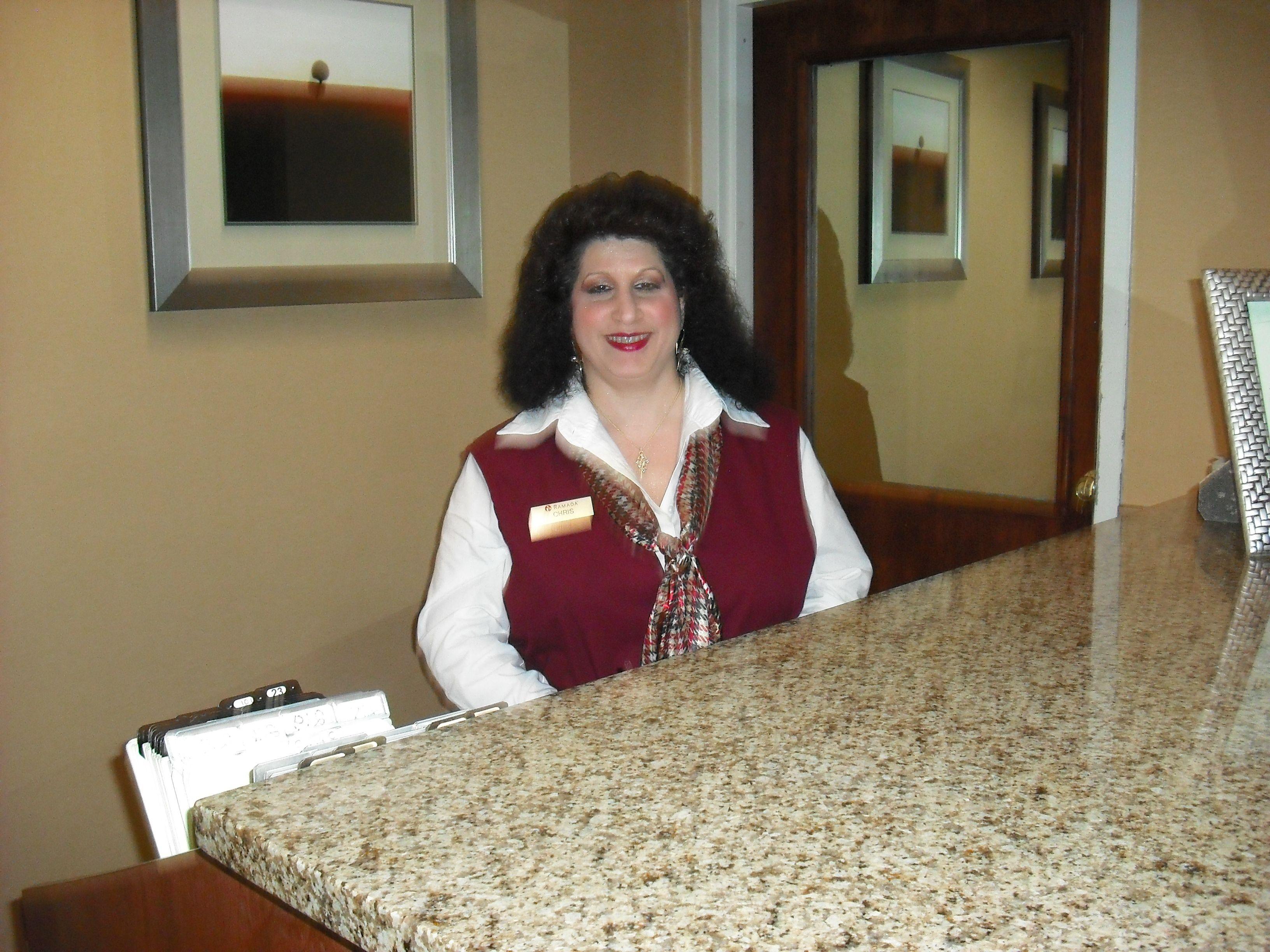 The Friendliest Hotel Front Desk Clerk At The Fast Inn In Goness France Front Desk Friendly Hotel