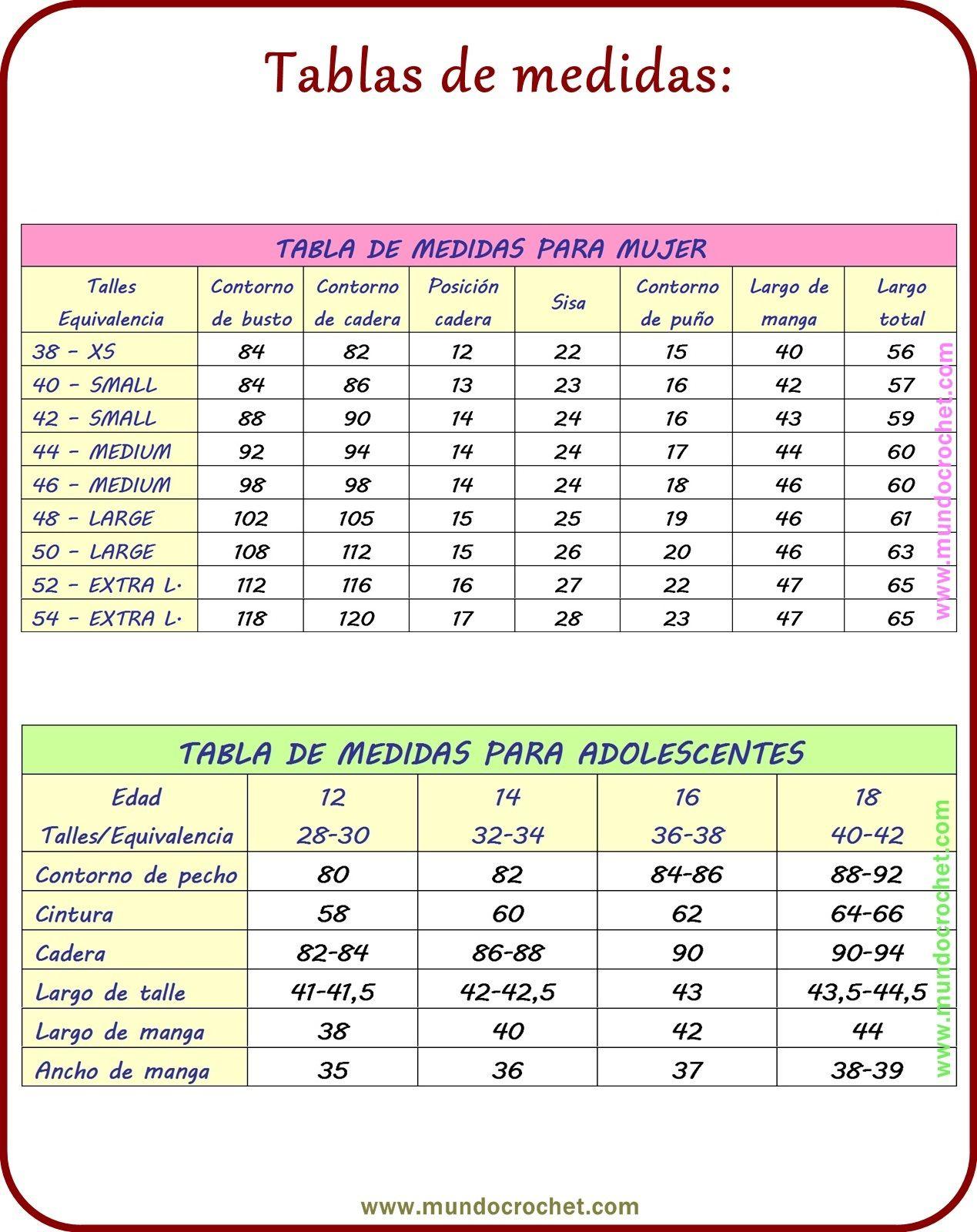 Tabla De Medidas Tejidos Tabla De Medidas Crochet Tabla De