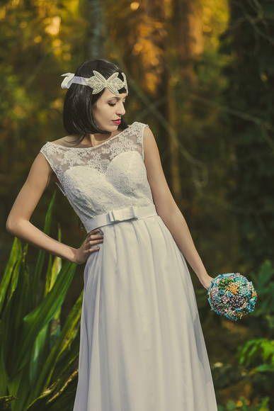 ec0c50bb7a Vestido de noiva longo modelo Victorienne