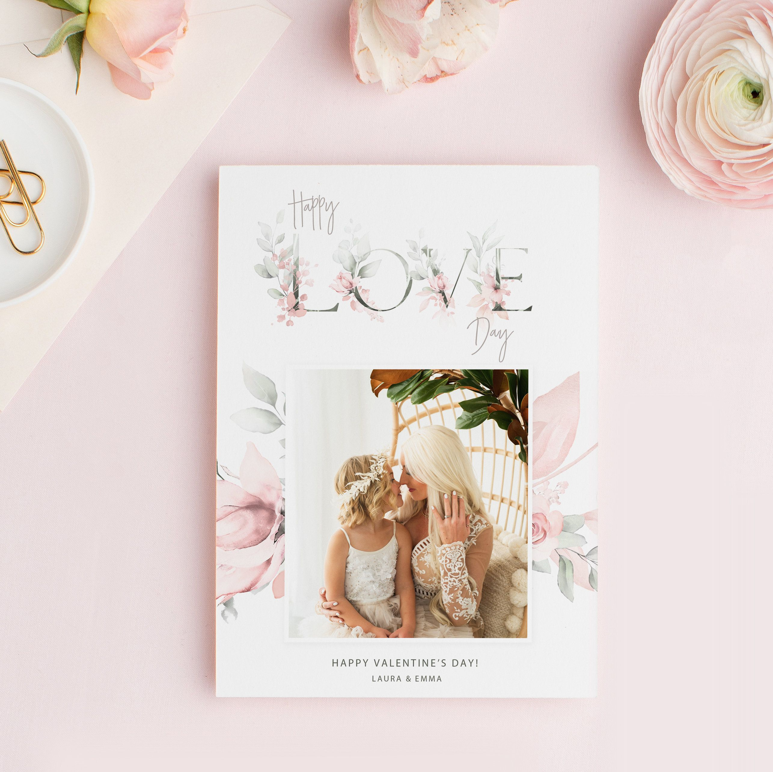 Happy Love Day Card Template Valentine S Day Photo Card Etsy Happy Love Day Valentine Photo Cards Valentines Day Photos