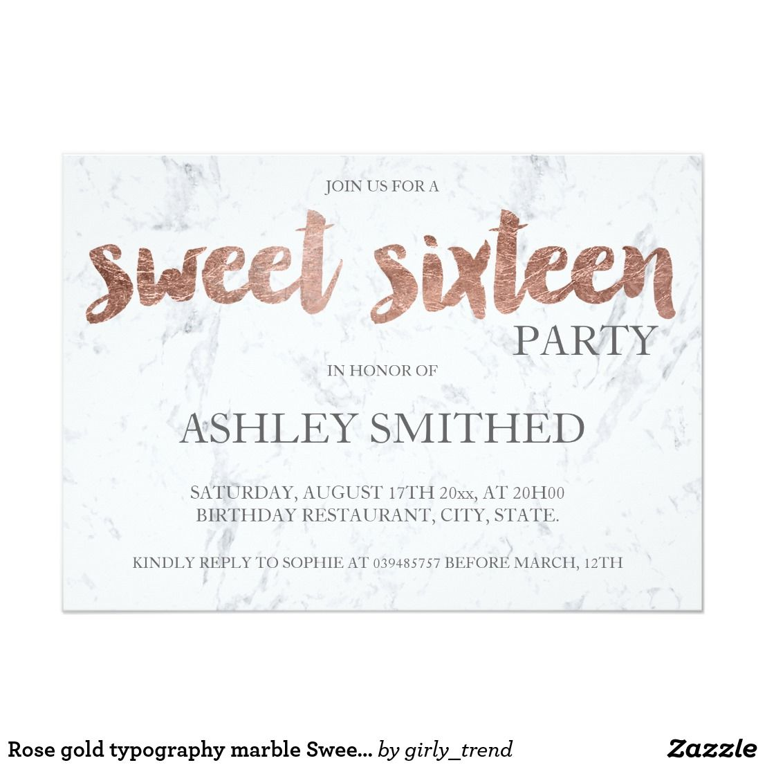 Rose gold typography marble sweet 16 invitation rose gold typography marble sweet 16 card rose gold typography marble sweet sixteen birthday party invitation stopboris Images