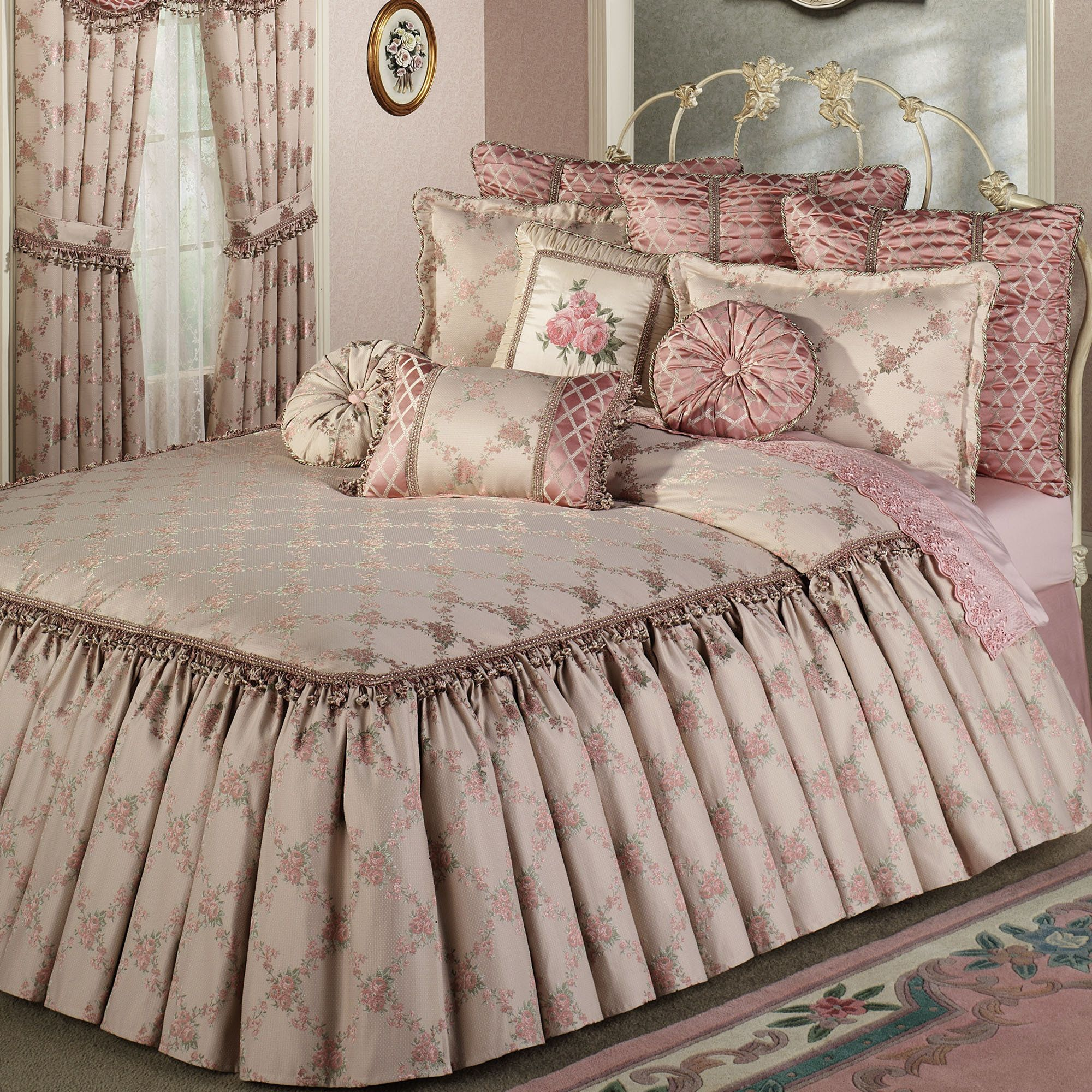 floral grande cherish fawn bedspreads curtain oversized bedspread gathered country pin curtains