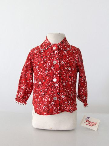 vintage bandana print children's blouse / new old stock - 86 Vintage