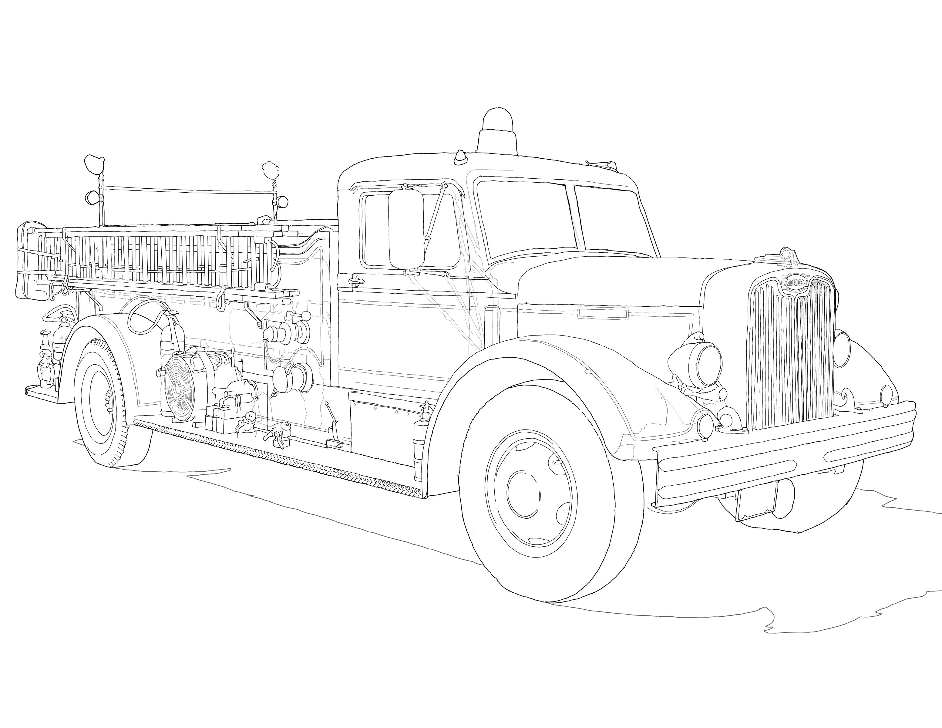 Adult Coloring Pages Old Fire Truck