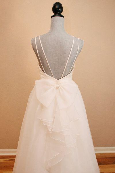 Lace Organza Low Back Wedding Dress Bow Wedding Dress Wedding