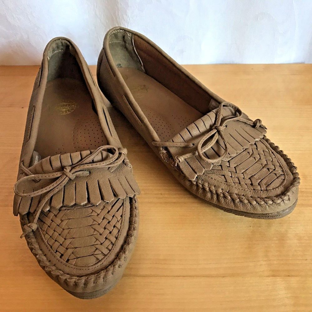 09f466bb7fd Walkables Comfort Shoes Womens Slip On Leather Moccasin Beige Tan Size 10W   Walkables  LoafersMoccasins  Casual