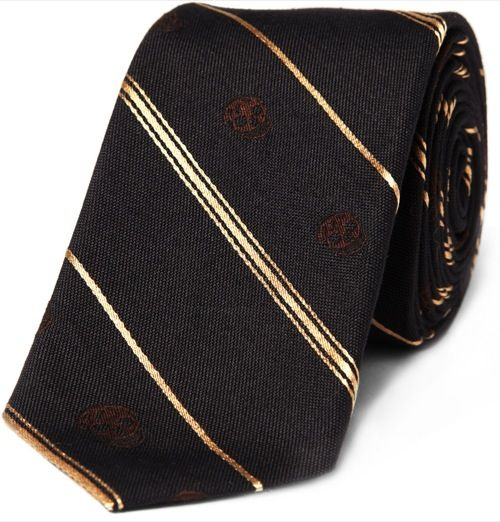 Alexander McQueen Striped Skull Print Tie