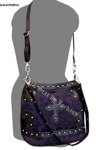 a26d72bb5900 Dark Star Brocade and Pvc Trim Shoulder Bag Purple Black | Things I ...