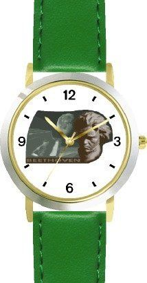 Ludwig van Beethoven 1 Musician - Music Composer - WATCHBUDDY® DELUXE TWO-TONE THEME WATCH - Arabic Numbers - Green Leather Strap-Size-Children's Size-Small ( Boy's Size & Girl's Size ) WatchBuddy. $49.95
