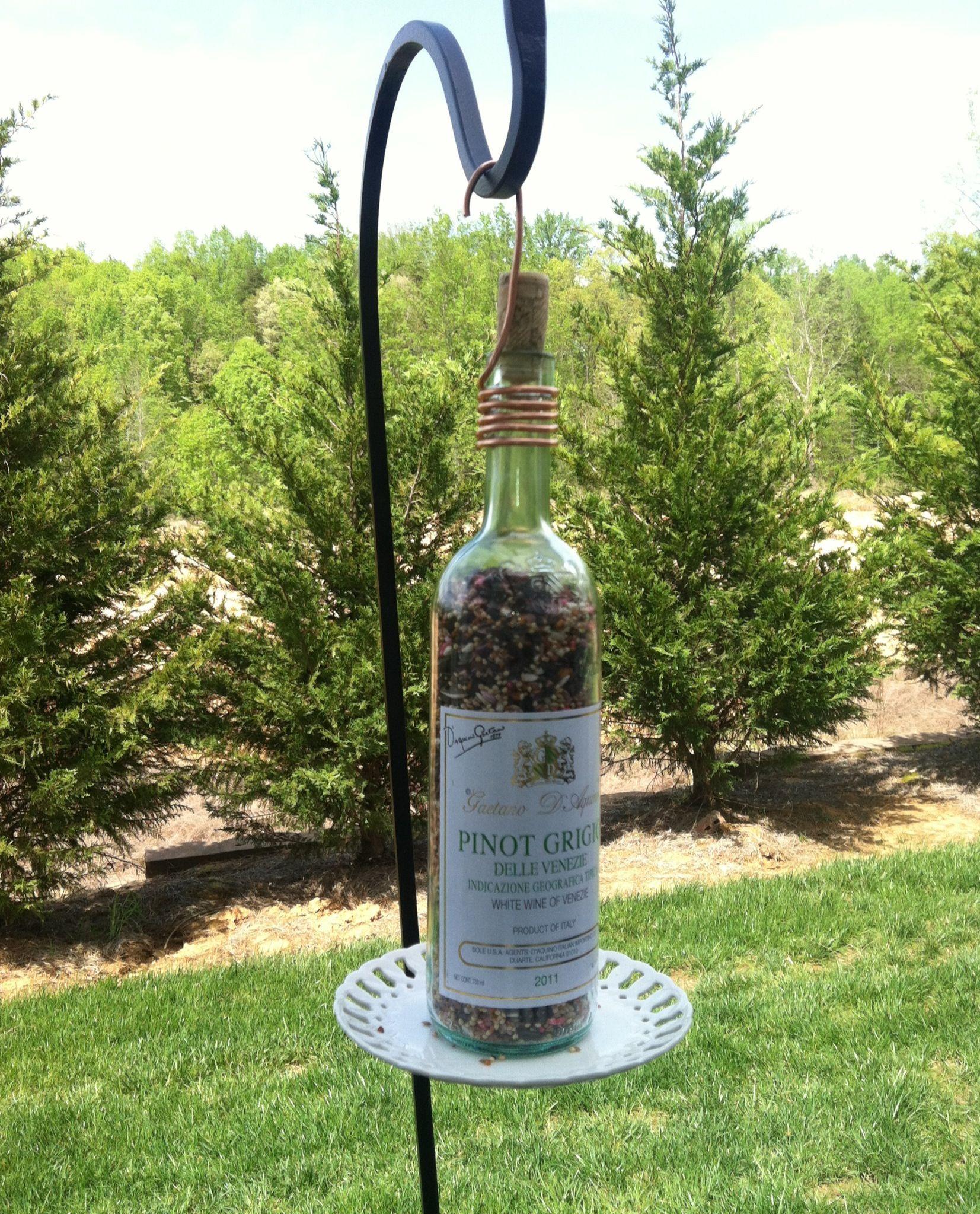 Wine bottle crafts outdoor - Wine Bottle Bird Feeder