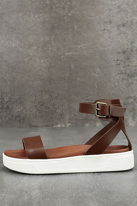 027031a88ed7 You couldn t find a cooler sandal than the Mia Ellen Cognac Flatform Sandals  if you went to Mars and back! Brown vegan leather forms a toe strap and ...