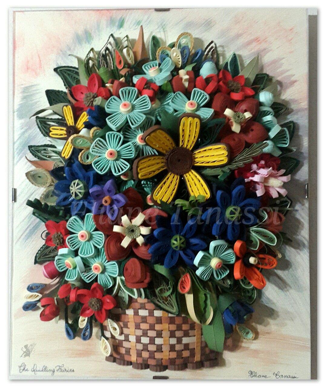 Flower Basket Arrangement Ideas : Quilled basket with flower arrangement august