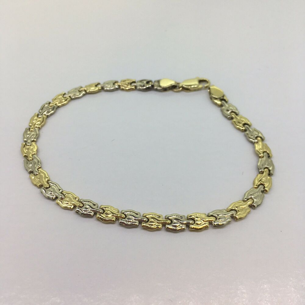 Two Toned White And Yellow 10 Karat Gold 7 1 2 Inch Bracelet Multi Tone Zargonjewelers Gold Bracelets Karat