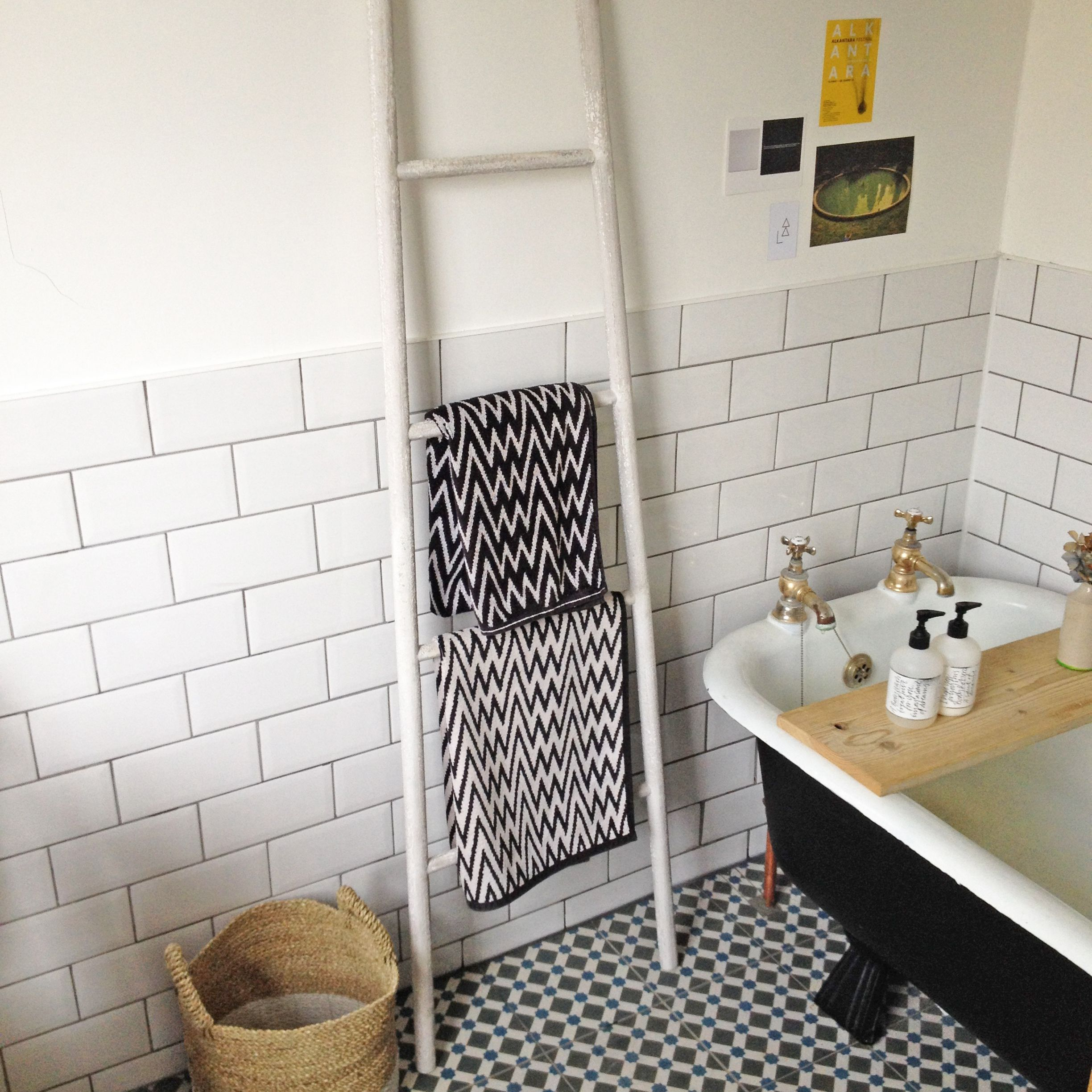 Storage | Is | Pinterest | Brick bonds, Rustic ladder and Metro tiles