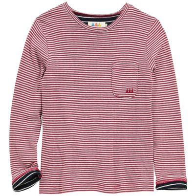 Little Eleven Paris - Red and ivory striped T-shirt - 52733