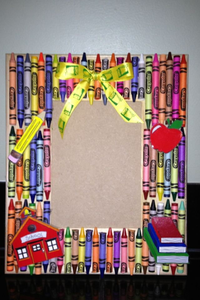 Picture Frame Decorated With Crayons Could Be Used As A Nice
