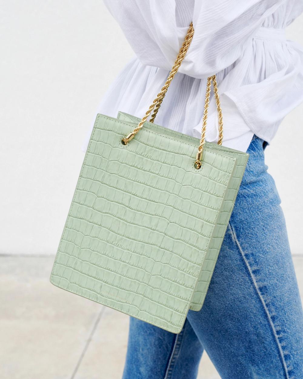 Antoinette Shopper Tote In 2020 Shopper Tote Pistachio Color