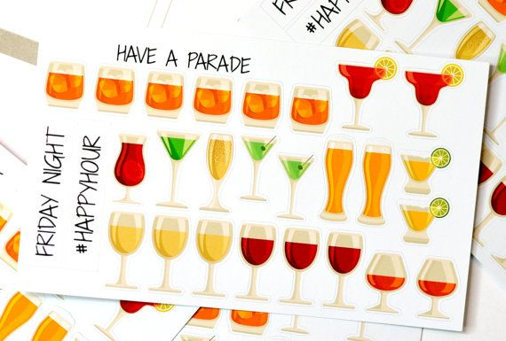 27 Adult Drink Stickers for your Erin Condren Life by HaveAParade