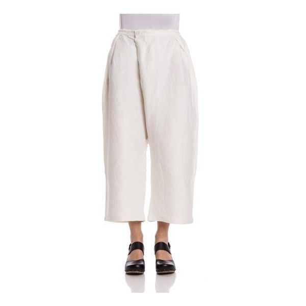BLUE BLUE JAPAN Baggy Pants (1,200 SAR) ❤ liked on Polyvore featuring pants, white, zipper trousers, white trousers, zipper pants, white baggy pants and baggy trousers