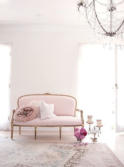 Vintage Light Pink Sofa On Gilded Legs And With An Oval Shaped Back